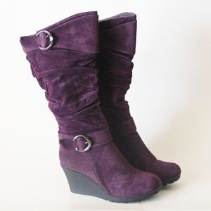 Purple Wedge Tall Heel Mid Calf Slouchy Boots NEW